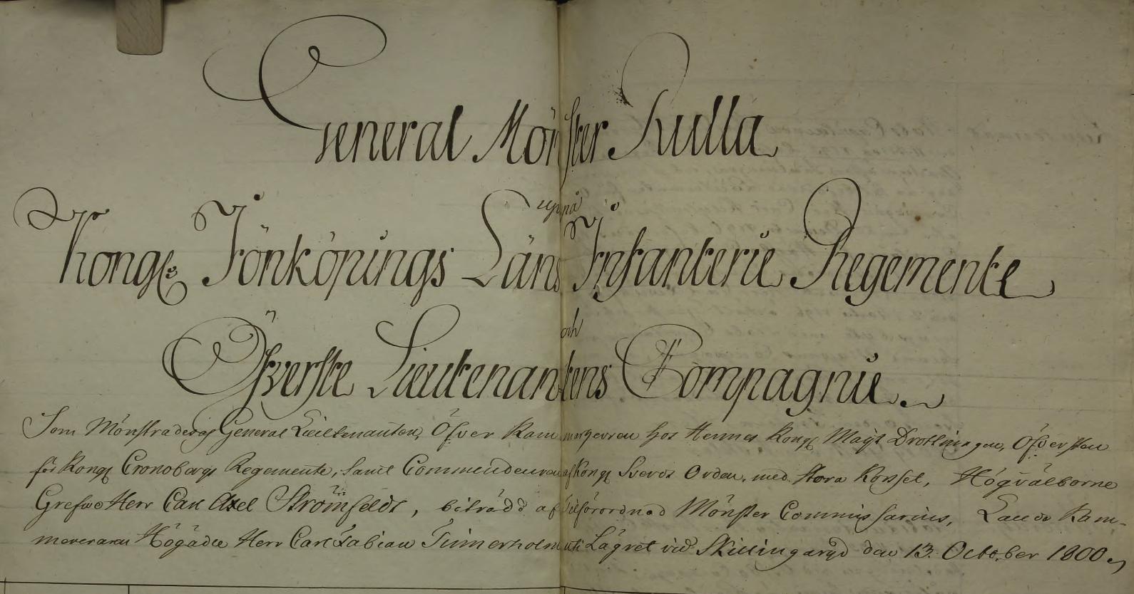 General mönster rulla för Jönköpings Regemente, 1800