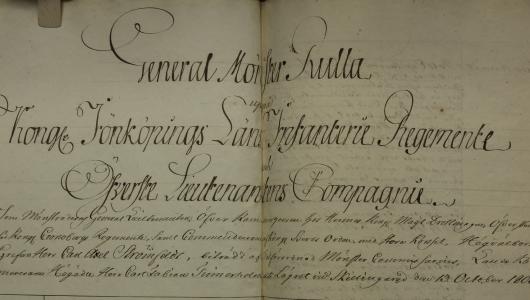 General mönster rulla för Jönköpings Regemente, 1800 (Bilden kommer i från http://www.arkivdigital.se)