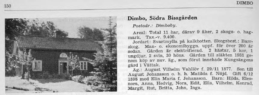 Dimbo, Södra Bissgården. Svenska gods och gårdar 1943