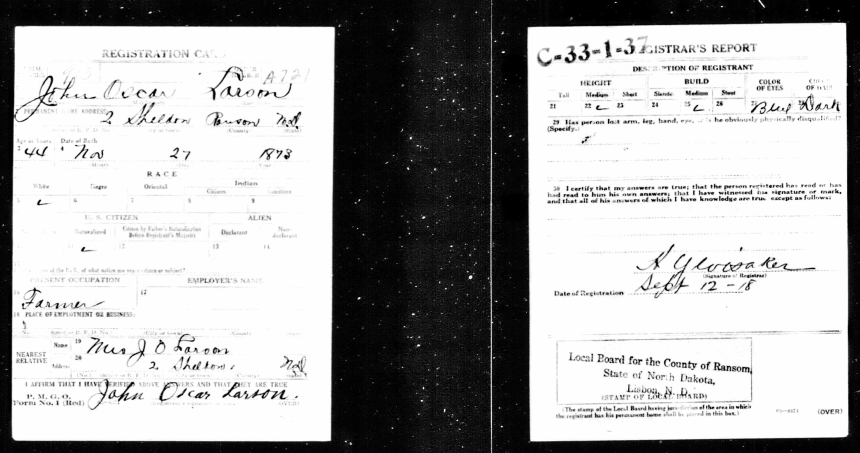 Mönstringskort: US World War 1 Draft Registration Cards 1917-1918