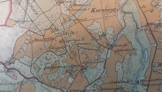 Karta över Brobacka soldatboställe under Ingemarstorp (Agnetorp) där soldat 894 Jean Tiberg levde.