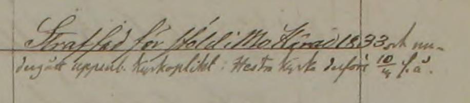 Magnus Rapp straffad för stöld 1833