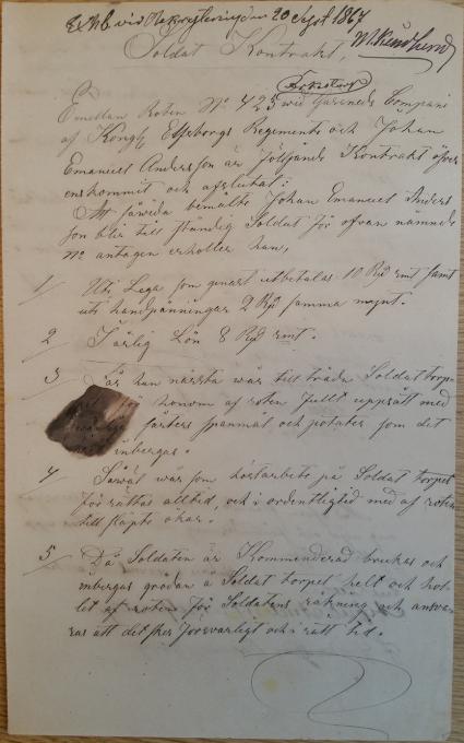 Soldatkontrakt för 423 Johan Emanuel Gill Gäsendes kompani för Örkestorp i Od 1867-09-20 sid 1