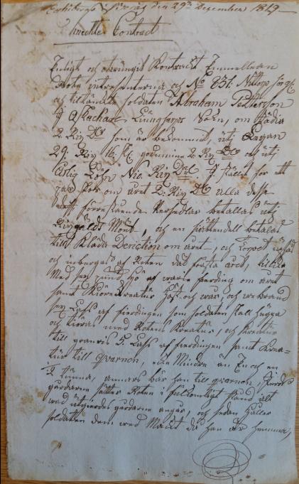Soldatkontrakt för 831 Abraham Mod, Norra Kinds kompani, Moghult i Nittorp, 1819-10-22, sid 1