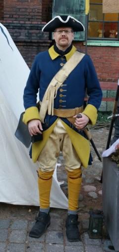 Indelt soldat vid Älvsborgs regemente m/1706 som bars från 1709 på regementet. Den Karolinska uniformen bars ända fram till 1778.