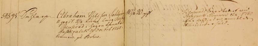 Soldat 545 Abraham Sahlgren kommenderat till Bohus 1774. Tar avsked 1774-07-07. Får ersättning från Krigsmannakassan (Bild från www.arkivdigital.se)