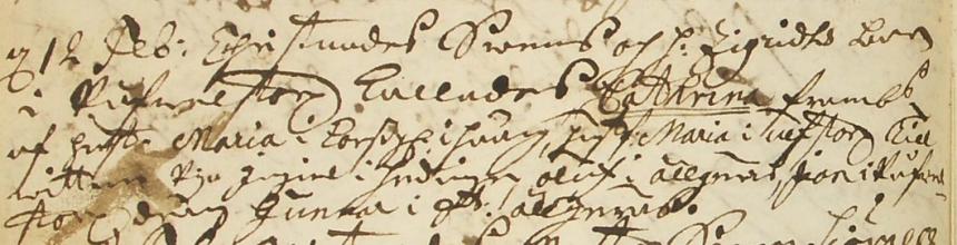 Catrinas Svensdotter födelse 1738 Påvelstorp i Daretorp (bild från www.arkivdigital.se)