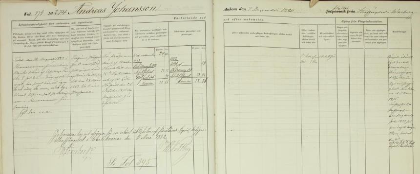 Livstidsfånge 274 Andreas Johansson i Karlskrona centralfängelse från 1880-12-07 till 1882-03-01