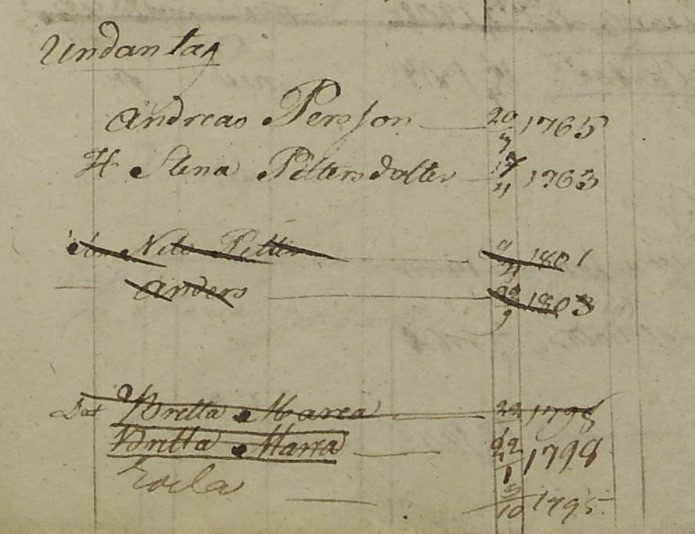 Familjen Andreas Pehrsson och Stina Petersdotter i Hassmundshult 1815-1821 (Bild från www.arkivdigital.se)